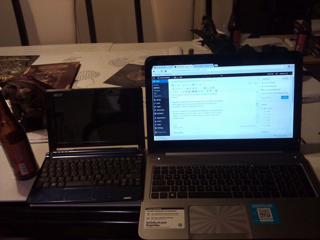 Size comparison for the Acer and the HP (and the beer bottle!)